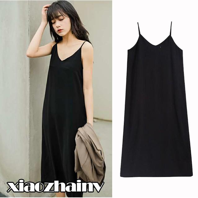 ead2befe1929c Xiaozhainv💕women korean maxi dress V-neck sling simple dress long beach  dress