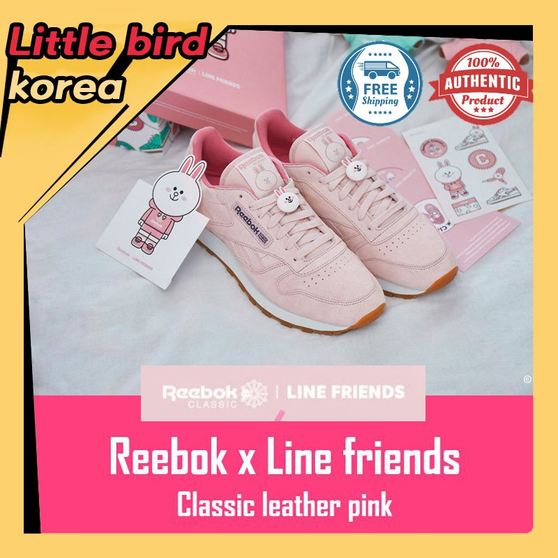 569751ad9a19c Price cut event☆ Reebok x Line friends classic leather sneakers Pink