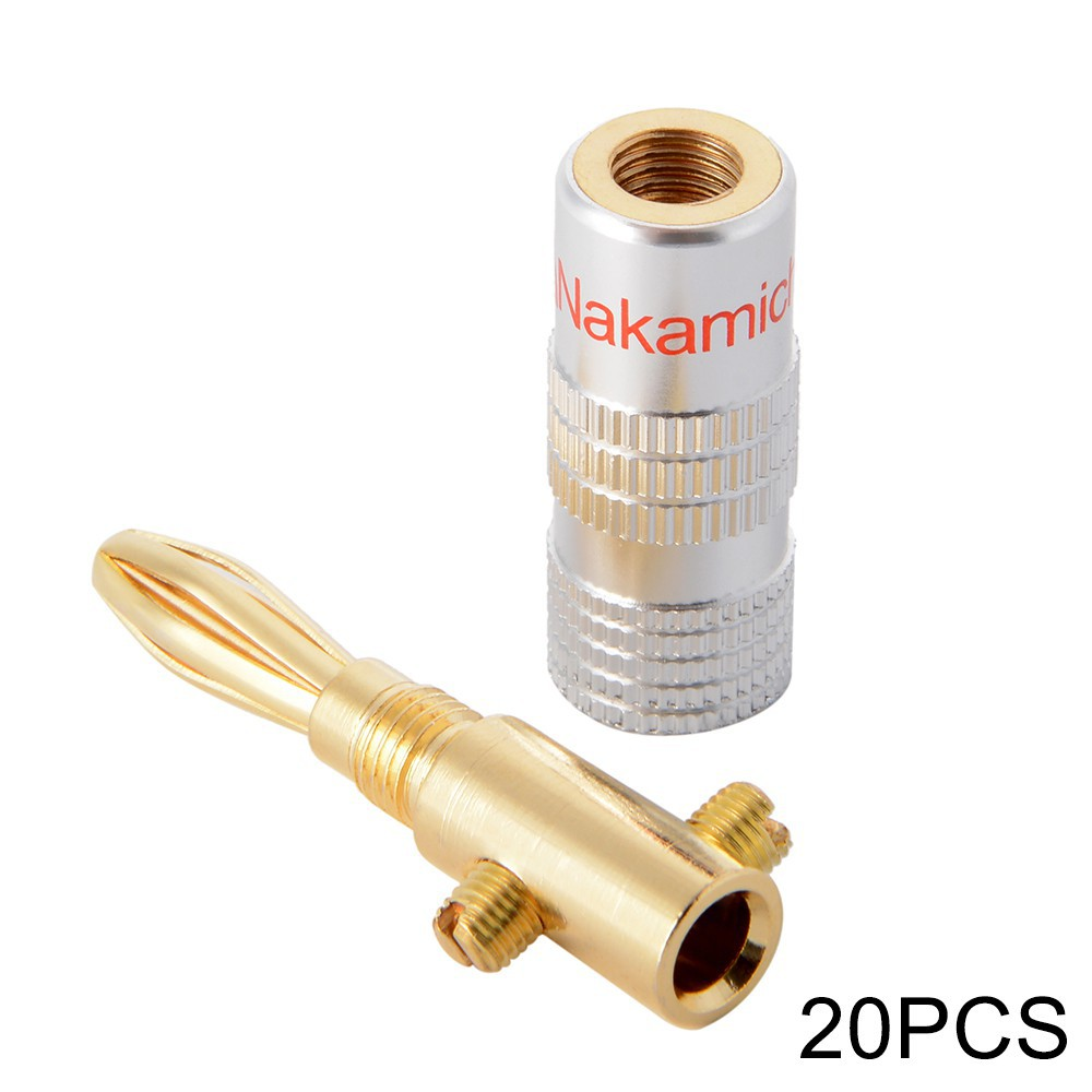 20x 24K Gold Plated Speaker Cable Wire Connector For 4mm Banana Plug Nakamichi