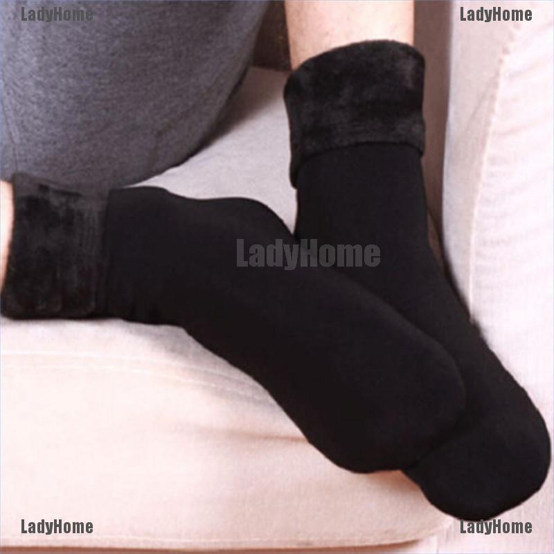 Winter Women Men Thicken Soft Velvet Snow Boot Socks Warm Wool Midcalf Socks