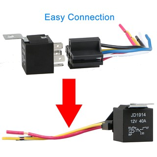 5pcs DC 12V Car SPDT Automotive Relay 5 Pin 5 Wires w/Harness Socket  Pin Relay Socket Wiring on