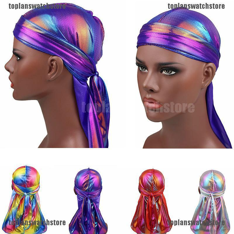 Fashion Women Men Silky Durag Head Wrap Cap Summer Bandannas Rag Hat 2019