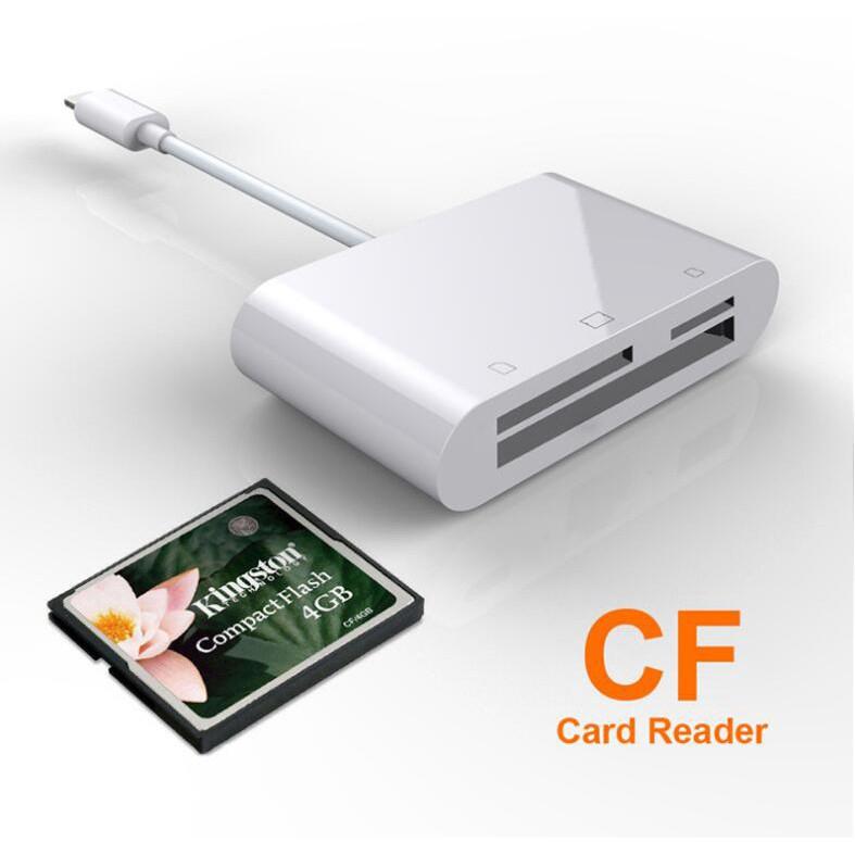 3 in 1 Lighting SD//TF//CF Card Digital Camera Reader Adapter for iPhone X iPad