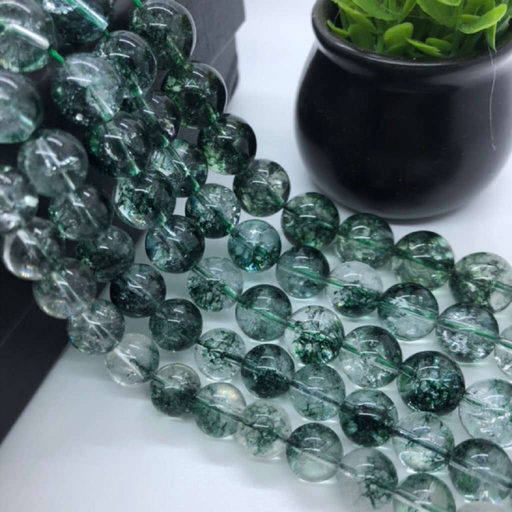 10 Round Frosted  Glass Beads 14mm Light Grey Green