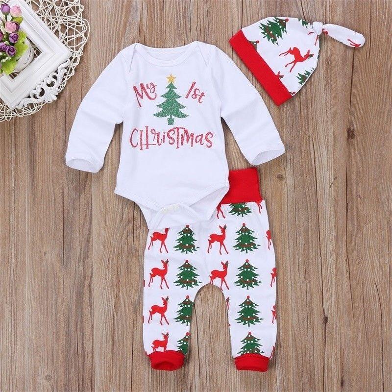 fca077a6b ProductImage. ProductImage. Christmas Newborn Baby Girl Boy Clothes Jumpsuit  Romper Bodysuit ...