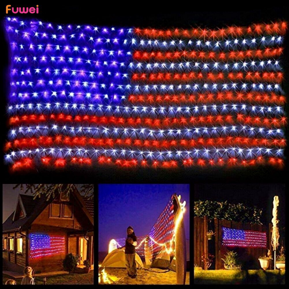 String Lights American National Flag