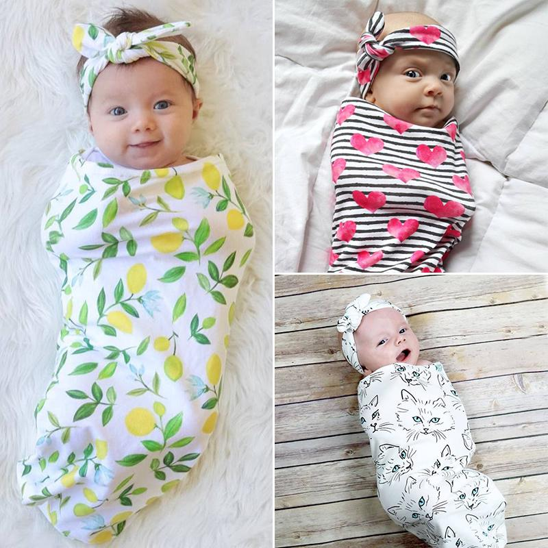 Stroller Wrap Set Infant Baby Bag Headband Cotton Swaddle Soft