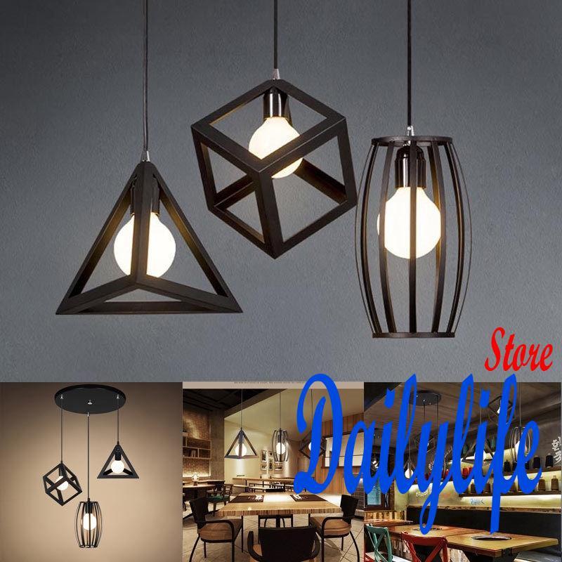 Pendant Lights Nordic Style Geometric Cube Iron Pendant Ceiling Light Lamp Fixture For E27 Bulb