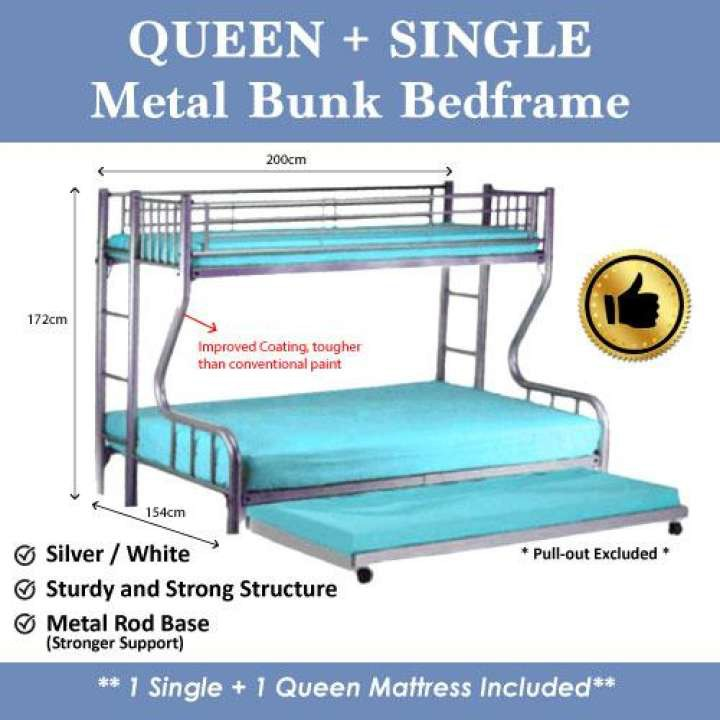 A Star Cheapest Single Queen Metal Silver Bunk Bed Frame New Shopee Singapore