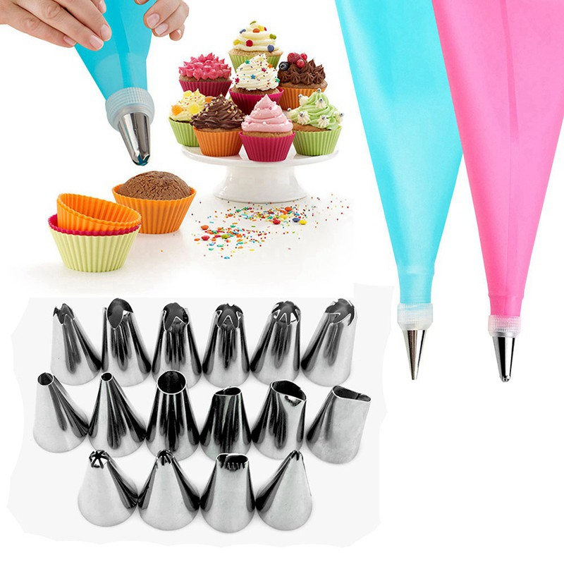 4pcs Silicone Reusable Icing Piping Cream Pastry Bag Cake Decorating Tools DIY F