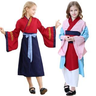 Hua Mulan Cosplay Dress Mulan Princess Dress Mulan Princess Costume For Girls Blue Mulan Cosplay Kids Clothes Shopee Singapore