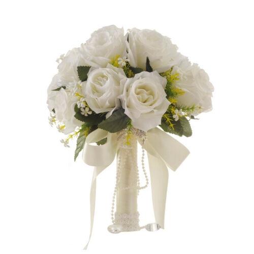 Artificial Bridal Bouquet Wedding Bouquets White Rose Flower Bride Flower Np Shopee Singapore