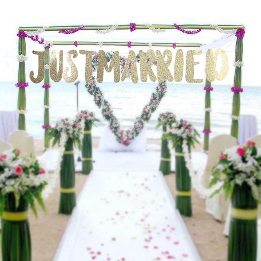 Engaged Gold Glitter Banner Bunting Elegant Engagement Decorations 14.5cm