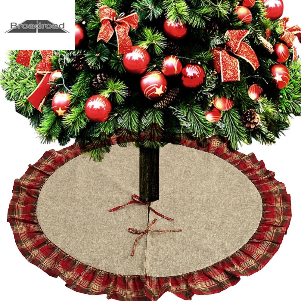 Hot 90cm Long Snow Plush Christmas Tree Skirt Base Floor Mat