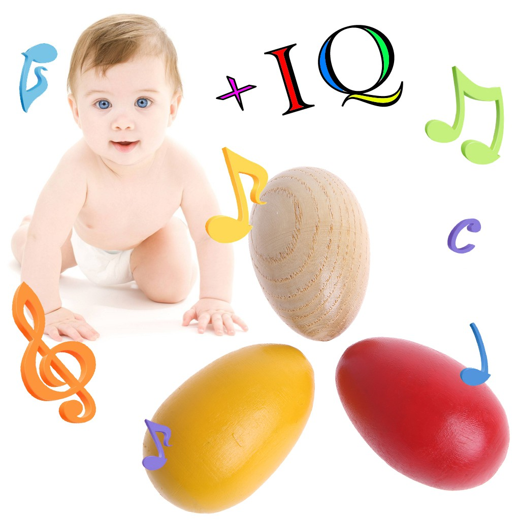 5pcs Yellow Wooden Egg Maracas Shakers Kids Childs Music Percussion Toy Gift