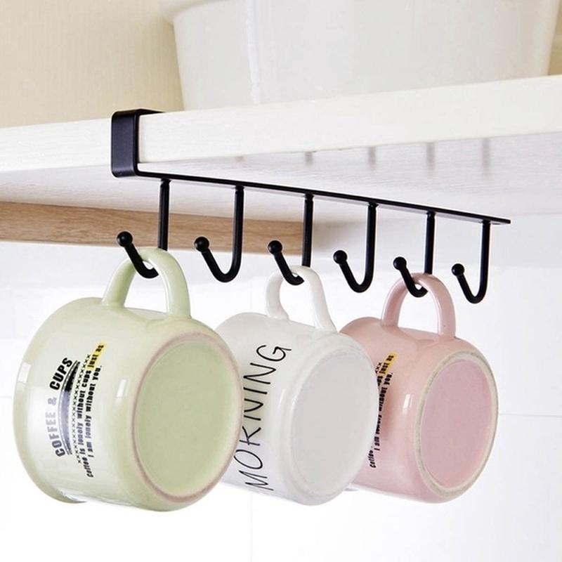 1pc 6 Hooks Cup Holder Iron Kitchen, Kitchen Cupboard Hanging Shelf