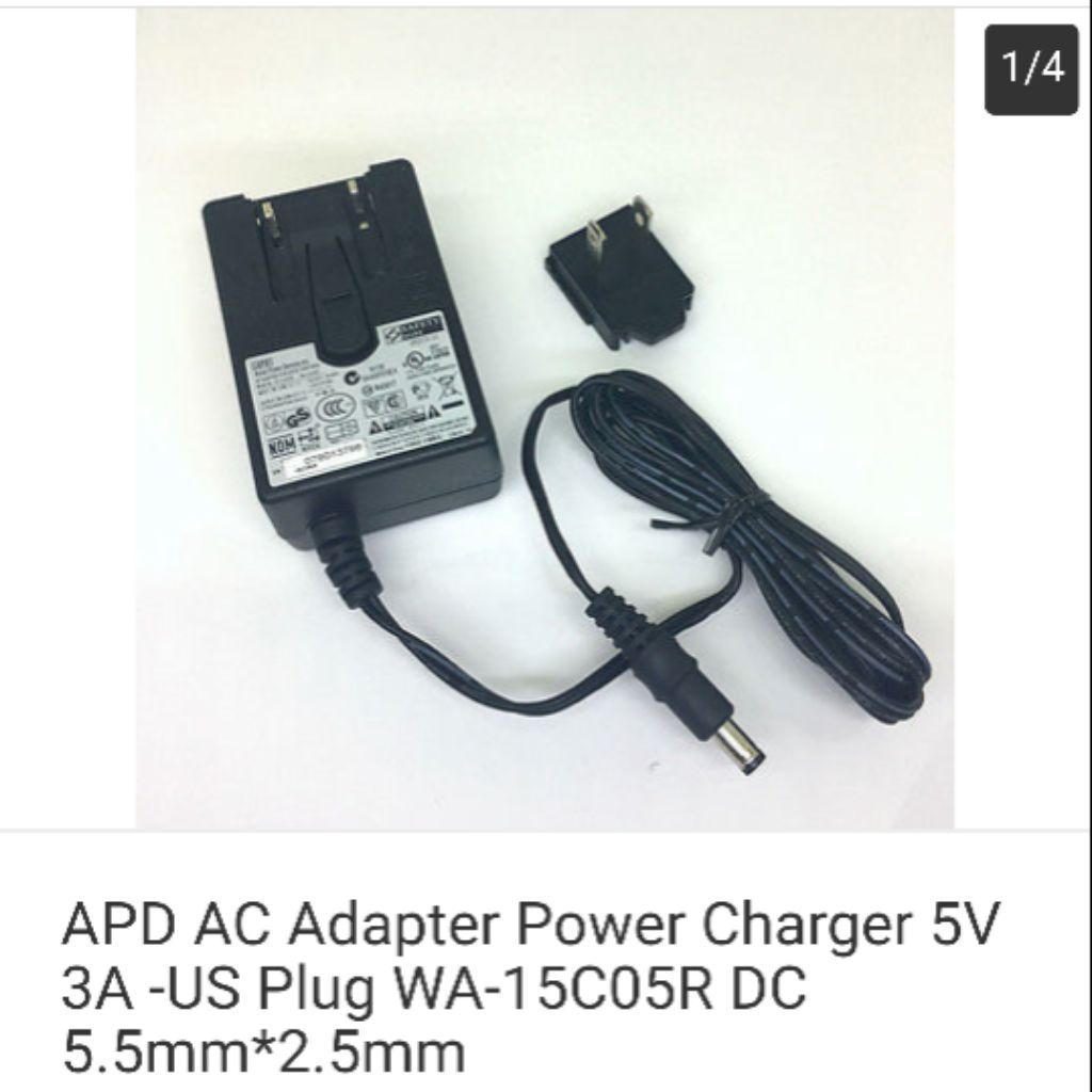 APD AC Adapter Power Charger 5V 3A -US Plug WA-15C05R DC 5 5mm*2 5mm