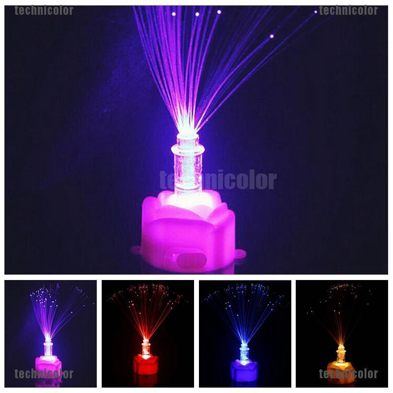 Color Changing LED Fiber Optic Night Light Lamp Stand Home Decor Colorful Pip
