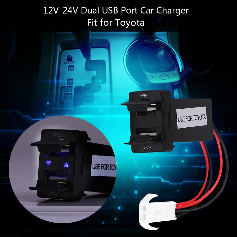 Blue 12-24v Dasunny Car Charger with LED 3.1A 2 Port Dual Usb Car Charger Cell Phone Charger