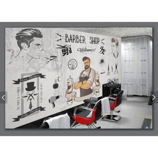 Mural Wallpaper Trend Barber Shop Beauty Shop Cement Wall