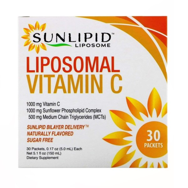 SunLipid, Liposomal Vitamin C, Naturally Flavored, 30 Packets, 0.17 oz (5.0 ml)