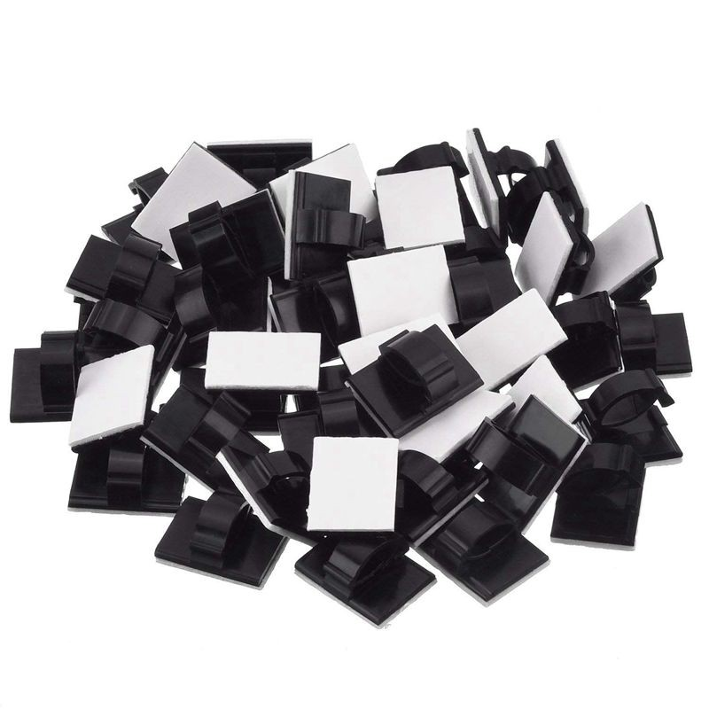 50x Wire Clip Black Car Tie Rectangle Cable Holder Mount Clamp self adhesive FU