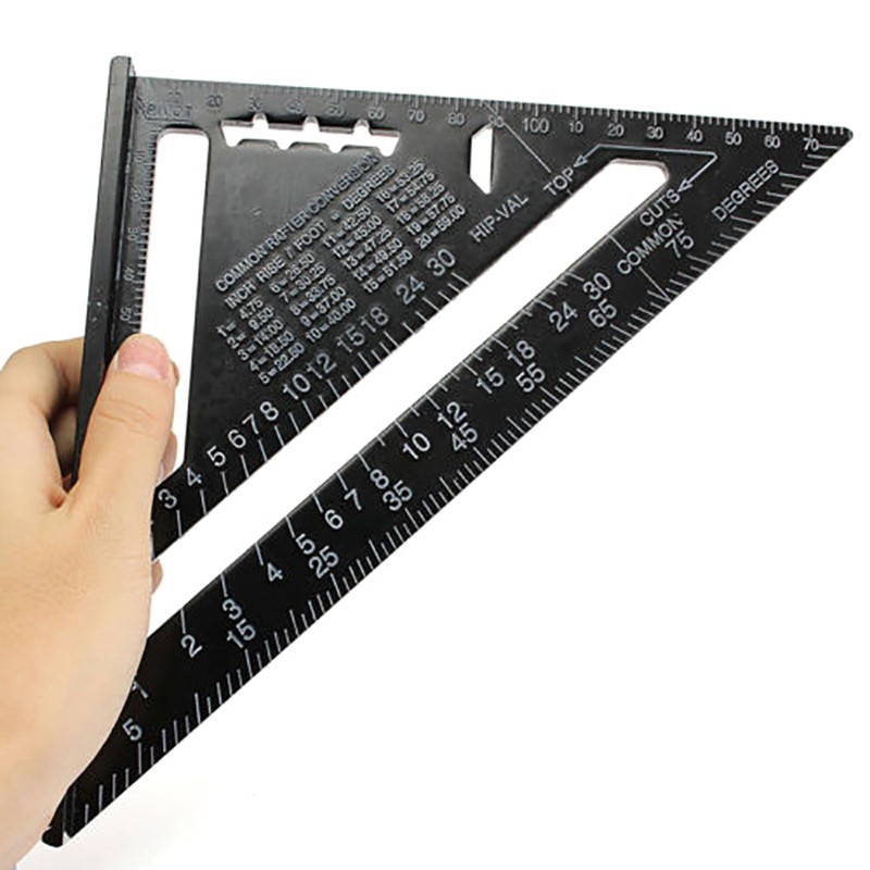 "7/"" ROOFING SPEED SQUARE ALUMINIUM ALLOY RAFTER ANGLE MEASURE TRIANGLE GUIDE UK"