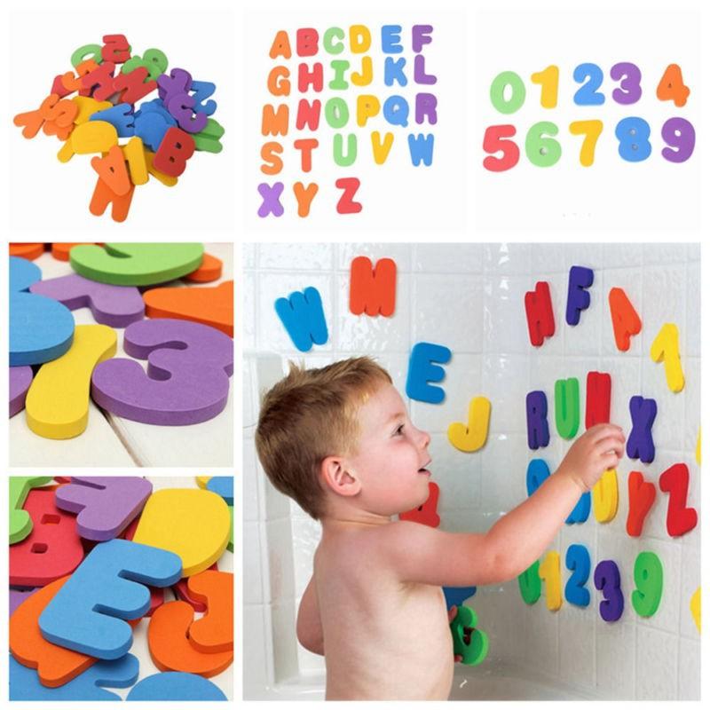 36Pcs Random Education Alphabet Learning Toy Bath Tub Foam Letters Numbers.