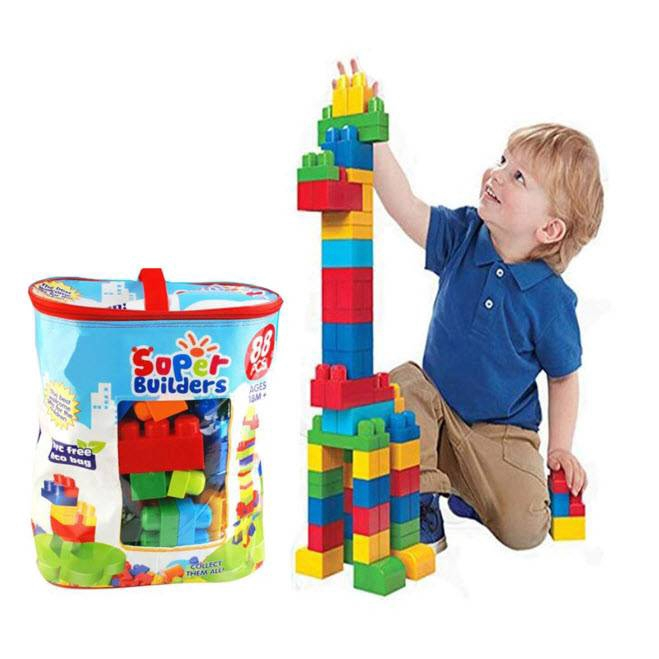 Blok Pembelajaran Binaan Permainan Kanak Kanak Super Mega Builders Large Block Building Blocks Kids Toys 88 Pieces Shopee Singapore
