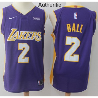 on sale ad1af 4d66c Nice Nike Lakers #2 Lonzo Ball Purple NBA Authentic ...