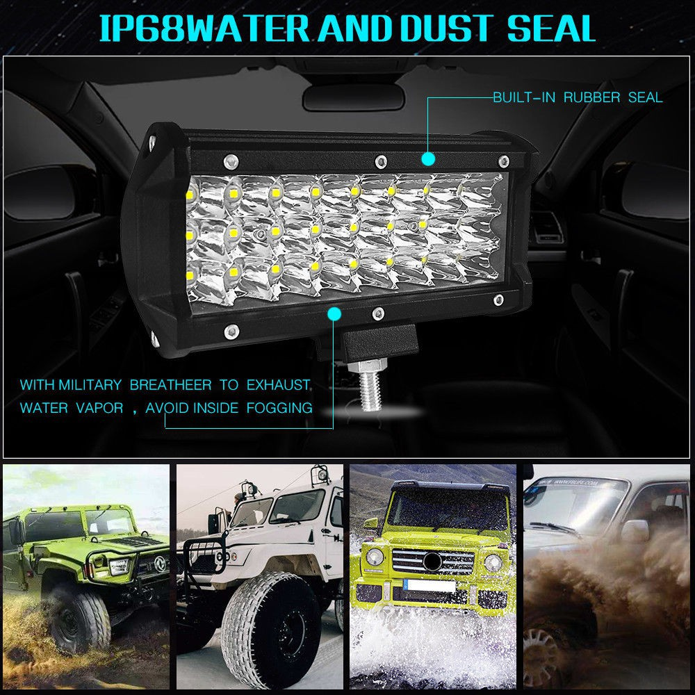 1PC Tri Row 7 inch 360W LED Work Light Bar Spot Offroad SUV Driving Strip Light