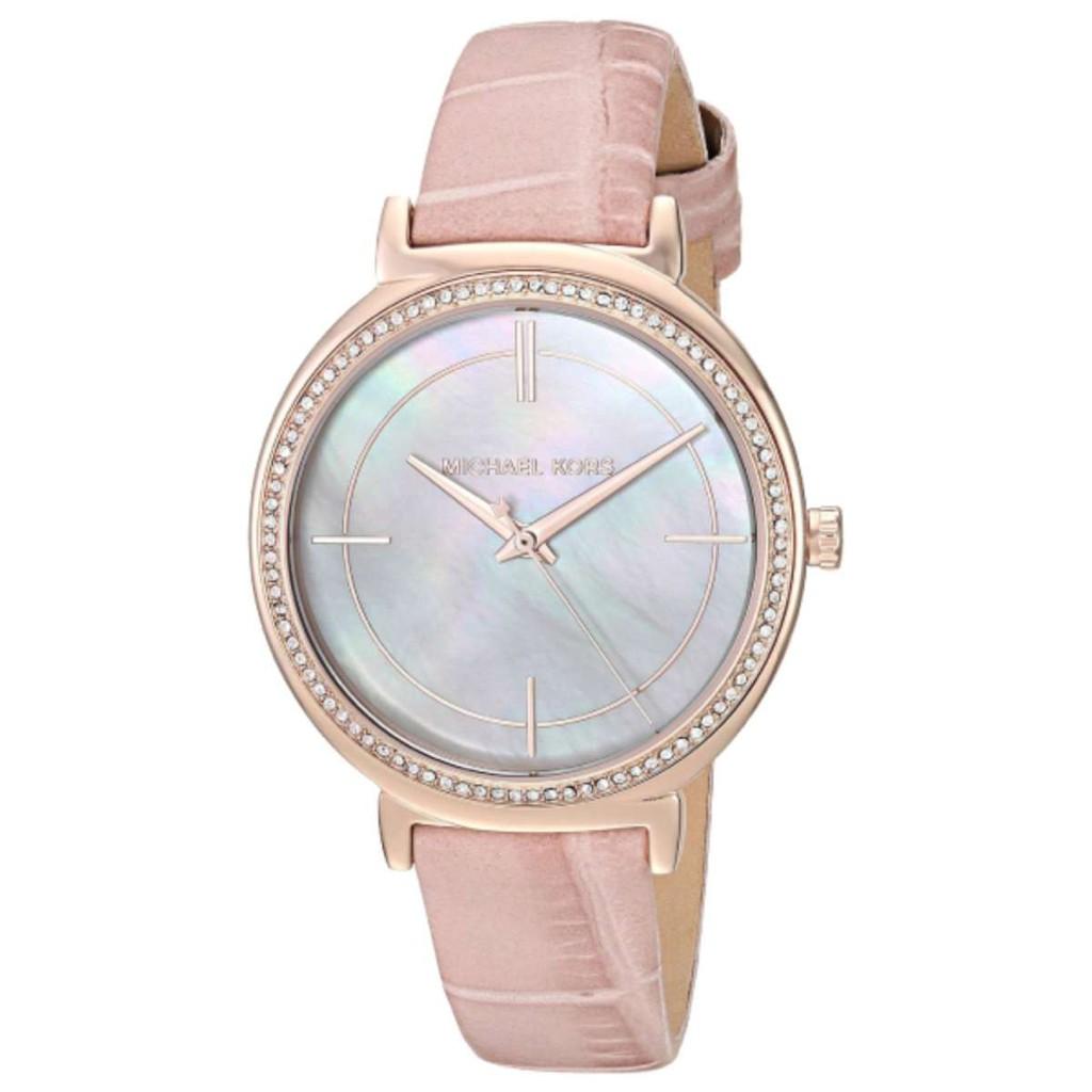 daaf6a808f21 Michael Kors Ladies  Petite Portia Brown Leather Strap Watch MK2734 ...