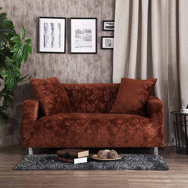 Brown Soft Falnnel L Shape Sofa Covers