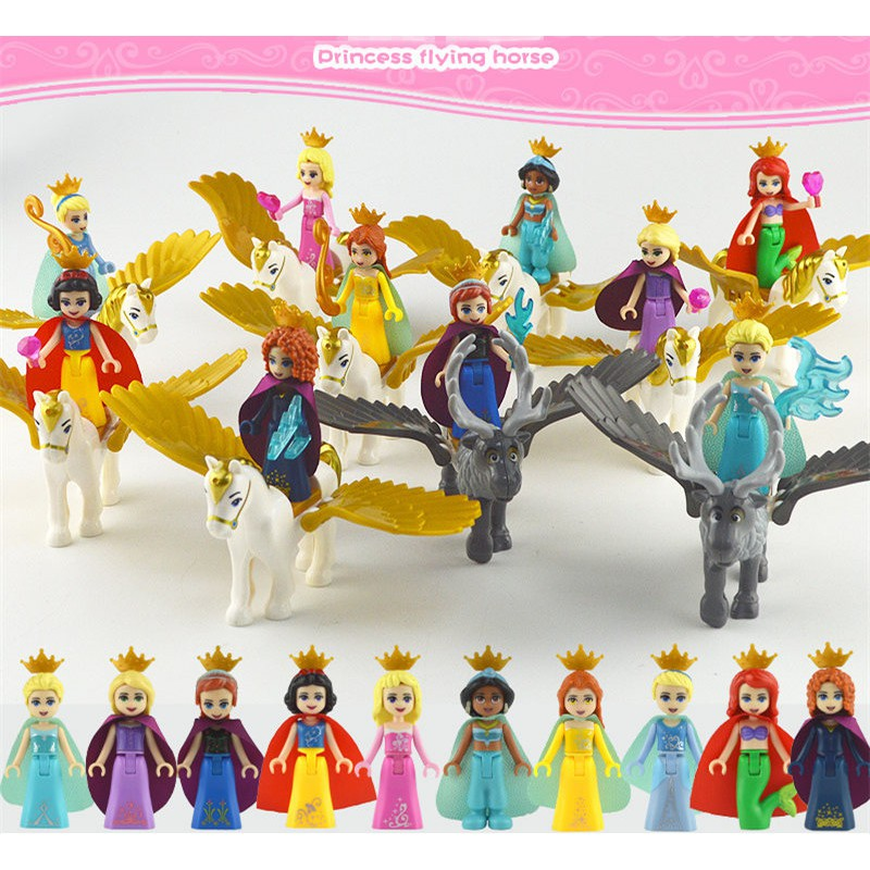 10pcs Princess Minifigures With Flying Horse Frozen Snow White Girls JG123