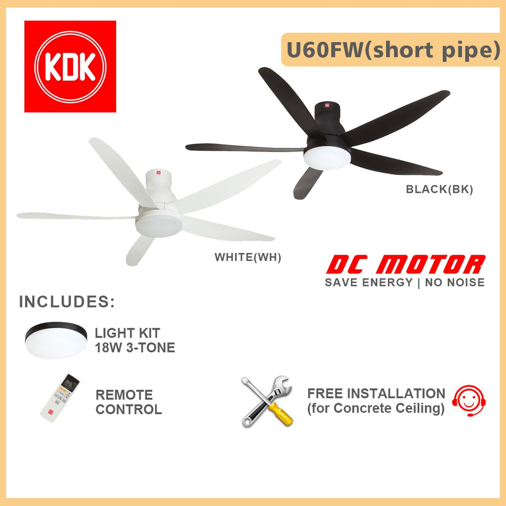 Kdk Ceiling Fan 60inch U60fw With Intallation Dc Motor Fan 18w 3 Tone Light Kit And Remote Control Shopee Singapore