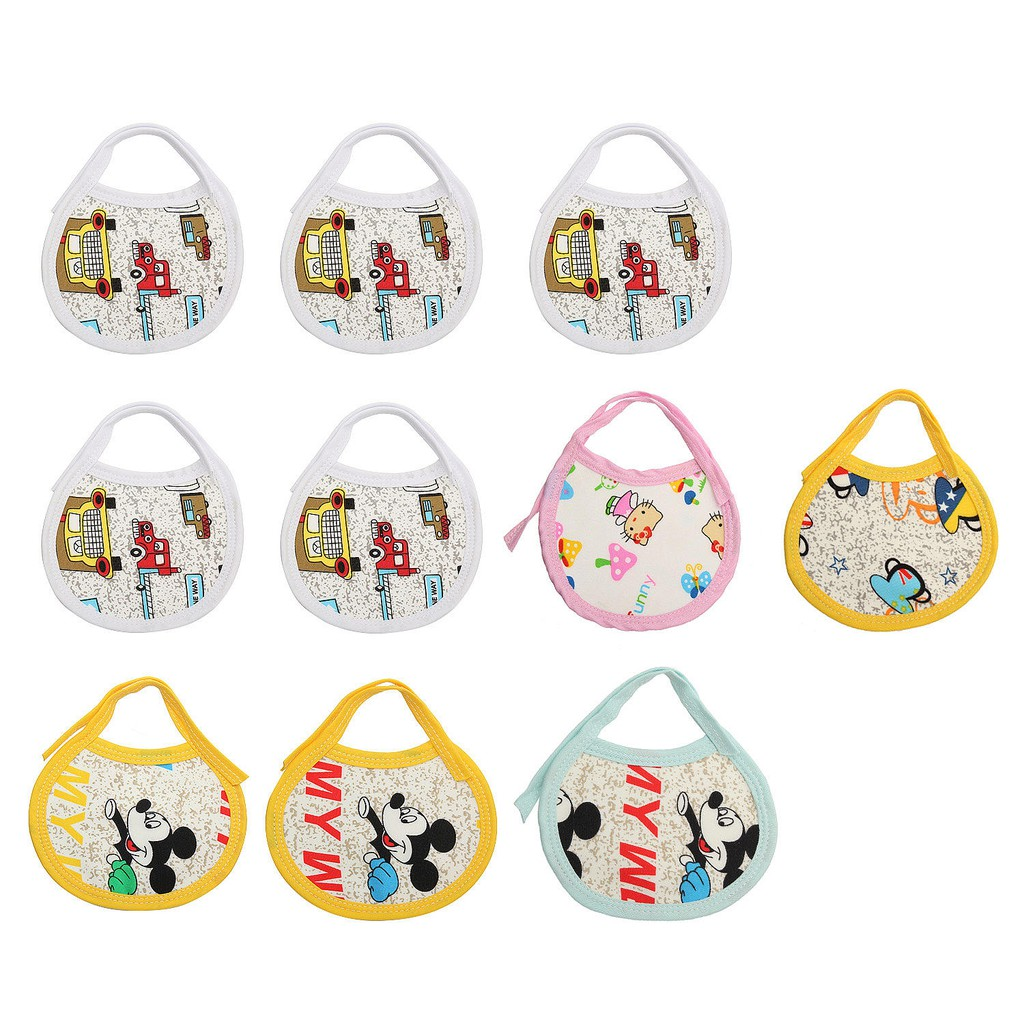 10 Pcs Baby Boy Girl Cotton Bibs Waterproof Kids Children Saliva Burp Apron