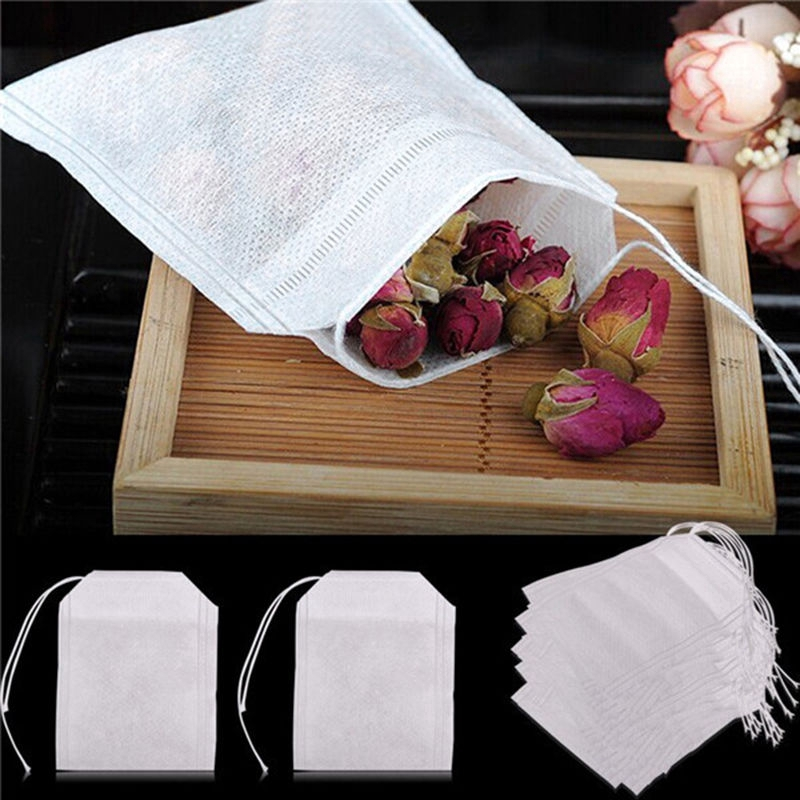 200x non-woven Empty Teabags String Heat Seal Filter Paper Herb Loose Tea Bag A+
