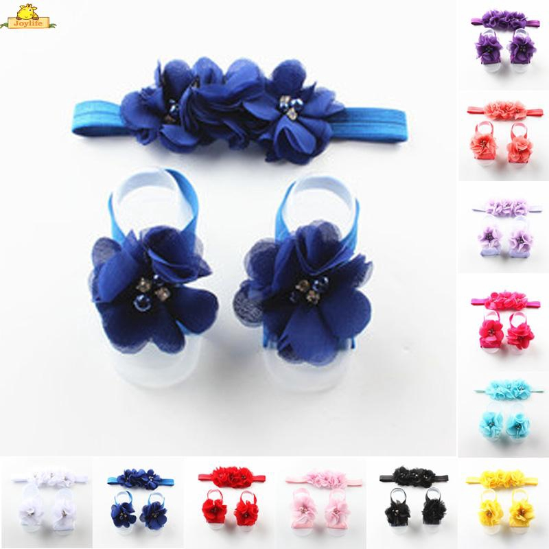 Elastic Headband Foot Flower Hair Band Accessories Girl Infant 1set Cloth 38cm