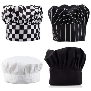 Professional Kitchen Chef Hat Black White Stripe