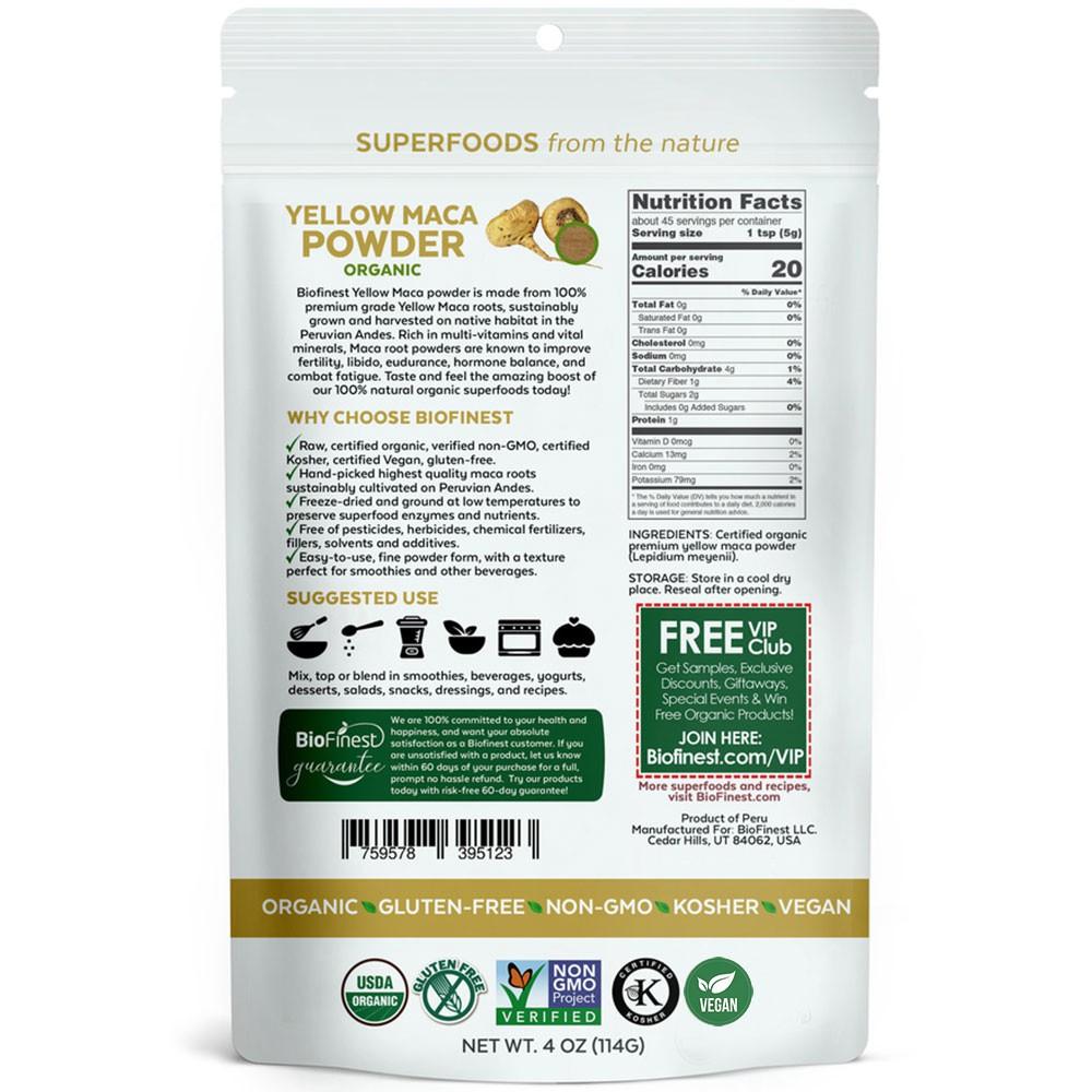 Biofinest Yellow Maca Root Powder Pure FreezeDried Superfood