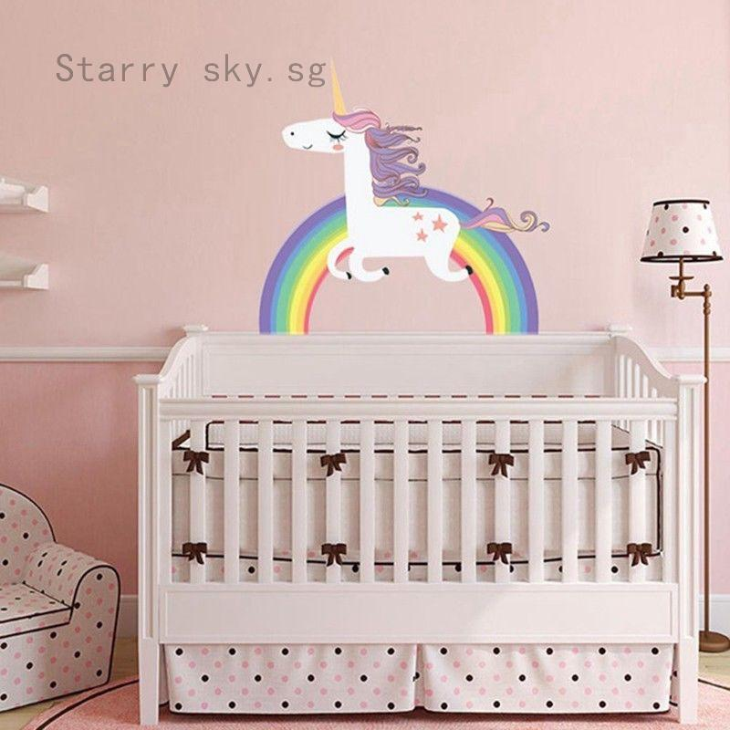 Cute Rainbow Unicorn Wall Sticker Vinyl Art Decals Room