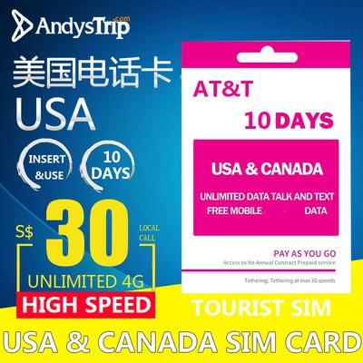 Wholesale Prepaid USA & Canada (US ATT)10 Days Unlimited Data SIM Card