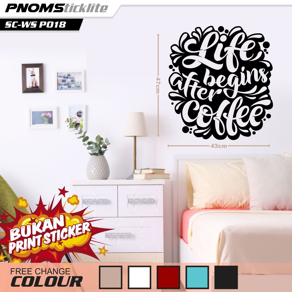 Wall Sticker Coffee Quotes Wall Stickers Code 018 Shopee Singapore