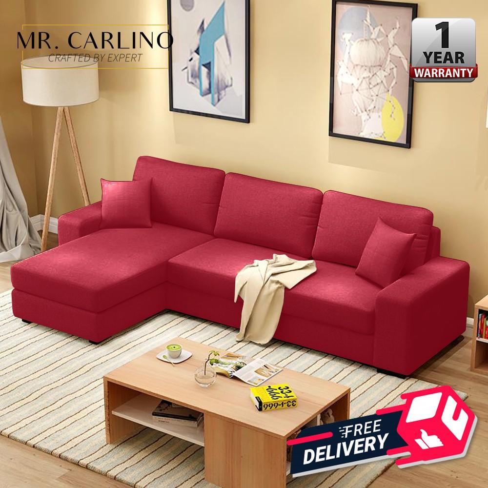 Hinton 3 Seater Canvas L Shape Designer Sofa Free Delivery