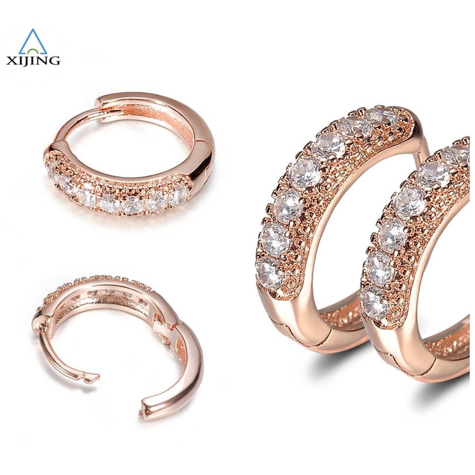 743cd0511f601 New Fashion Shiny Gold Hoop Ring Pave Rhinestone Crystal Men Lady Party  Earrings