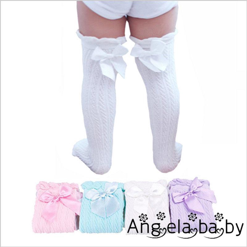 Toddler Kid Baby Girl Knee High Long Sock Bow Cotton Casual Stockings 0-4 Age hi