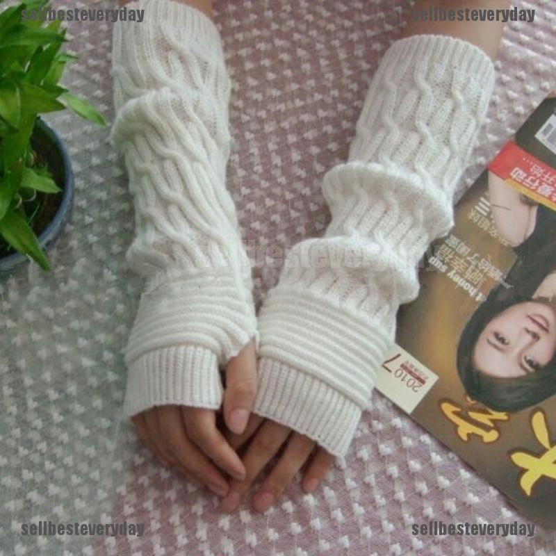 Knitted Gloves Long Arm Glove Warmer Wool Fingerless Ankle Glove Half Sleeves^