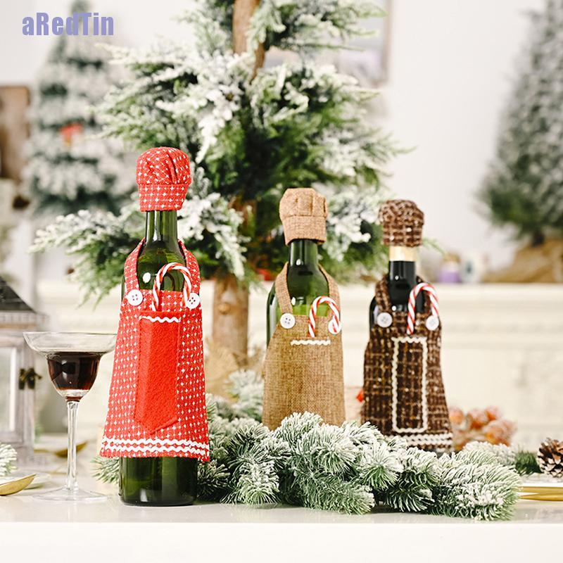 Aredtin Christmas Red Wine Bottle Covers Bag Lace Apron Wine Bottle Cover Party Ornament Shopee Singapore