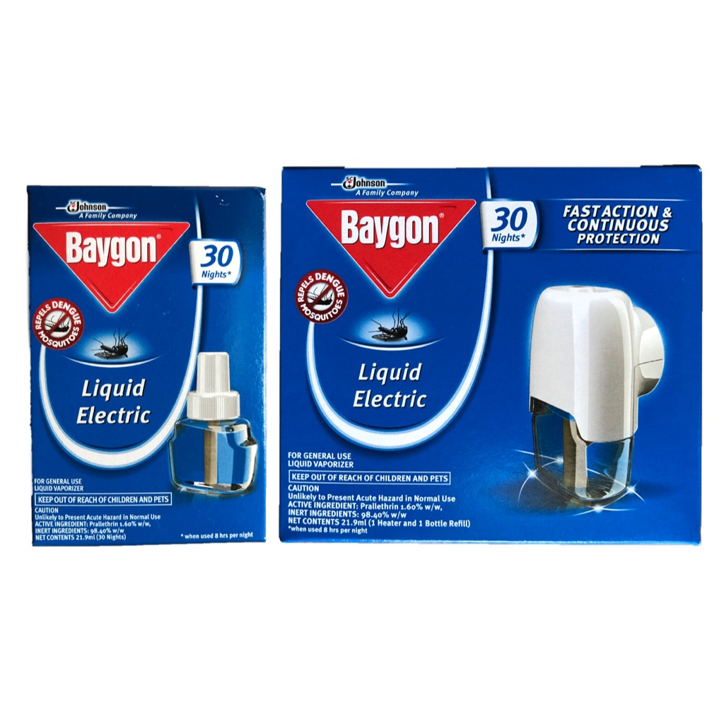 Baygon Liquid Electric 30 Nights Anti Dengue Mosquito Repellent Twin Pack Aerosol Natural Orange 600ml Refill Shopee Singapore