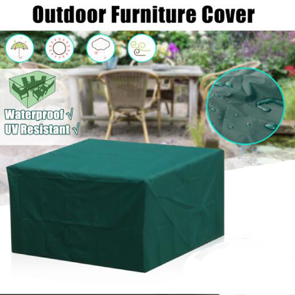 6 Seater Waterproof Furniture Set Cover Shelter Patio Garden Rectangular Table Armygreen Tablecloths